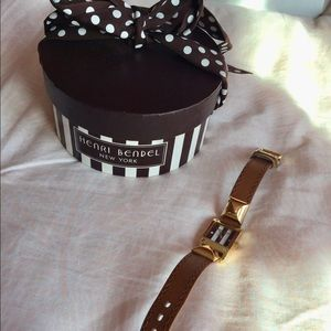 Henri Bendel classic striped leather band watch